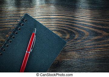 木製である, 型, メモ用紙, らせん状に動きなさい, ペン, 黒, 板