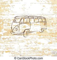 木製である, 型, 図画, 背景, バス