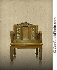 木製である, 型, 椅子, 古い, 背景