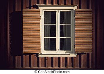木製である, 型, 窓, シャッター, 壁