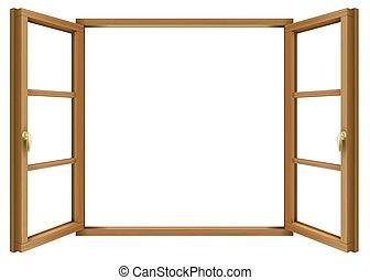 木製である, 型, 窓, 開いた, クラシック