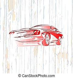 木製である, 型, 背景, 自動車, 筋肉, 図画