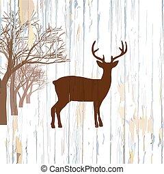 木製である, 型, 鹿, 背景