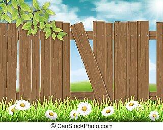 木製である, 壊される, 板, フェンス