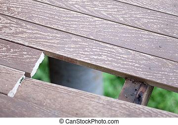 木製である, 壊される, 穴, 床