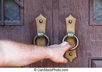 木製である, 外気に当って変化した, ドア