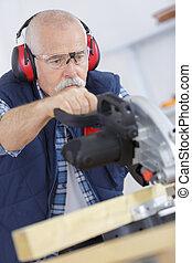 木製である, 大工, 切断, シニア, 鋸, 板, 円