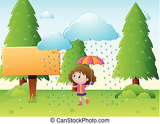 木製である, 女の子, テンプレート, 雨, 印