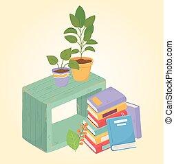 木製である, 家具, 本, 植物, 甘い, 家, 山, potted