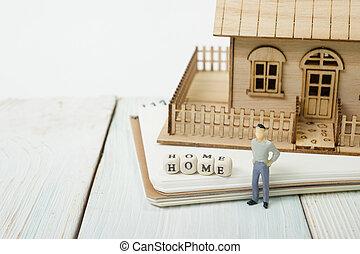 木製である, 家, つづり, ブロック, 単語
