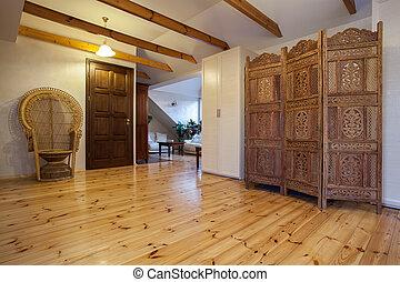 木製である, 家, スクリーン, -, 曇り