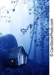 木製である, 家, 森林, 神秘的, 霧が濃い, 風景