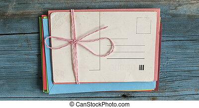 木製である, 封筒, カード, 背景