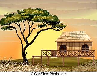 木製である, 小屋, 現場, フィールド