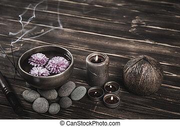 木製である, 小石, ボール, 歌うこと, 暗い背景, 蝋燭