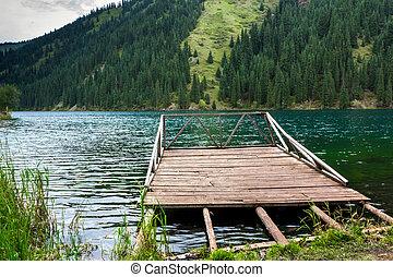 木製である, 山, 桟橋, 湖