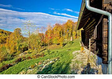 木製である, 山, 秋, ロッジ, 自然