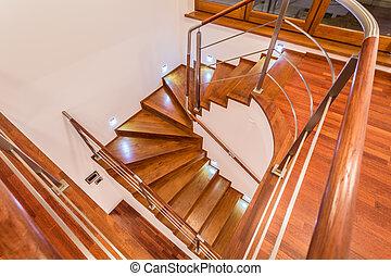 木製である, 巻き取り, クローズアップ, 階段