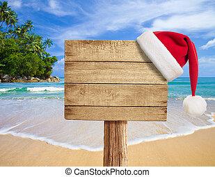 木製である, 帽子, 看板, 熱帯 浜, クリスマス