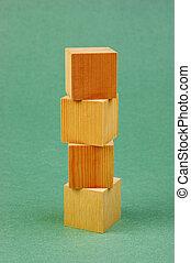 木製である, 幾何学的, 立方体, 緑の背景