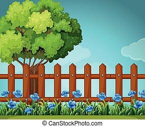 木製である, 庭, フェンス, 現場