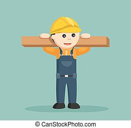 木製である, 建築作業員, 丸太, 持ち上がること