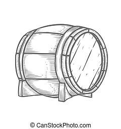 木製である, 引かれる, 樽, 手