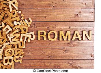 木製である, 手紙, ローマ人, 作られた, 単語
