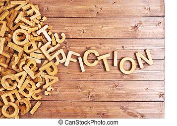 木製である, 手紙, 作られた, 単語, フィクション