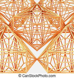 木製である, 抽象的, イラスト, 建設, ケージ, 構造, 3d