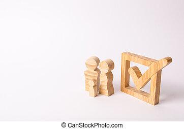 木製である, 数字, の, 人々, 立ちなさい, 近くに, ∥, カチカチいいなさい, 中に, ∥, box., checkbox., 人々, 投票, 中に, 選挙, a, referendum., 民主的, プロセス, 参加, 中に, 政府, elections., 設定, goals.