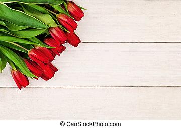 木製である, 春, チューリップ, 背景, 白い花