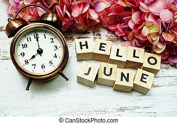 木製である, 時計, 背景, 警報, こんにちは, 6月