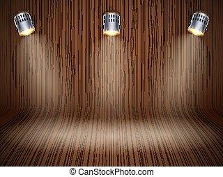 木製である, 曲がった, スポットライト, 背景