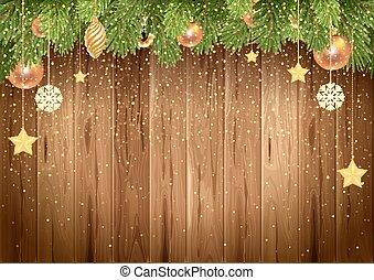 木製である, 木, クリスマス, 背景, モミ