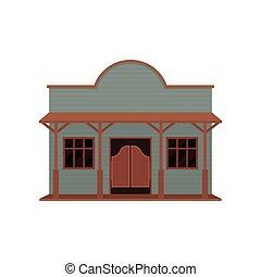 木製である, 木, ベクトル, 振動, 小さい家, 古い, 建物。, 西部, ドア, 平ら, porch., アイコン, ブラウン, 青
