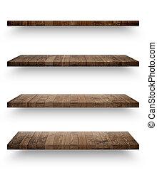 木製である, 棚, テンプレート, 隔離された, セット