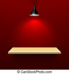 木製である, 棚, ランプ, 照らされた