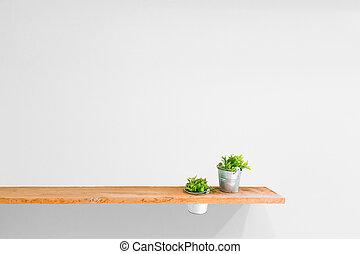 木製である, 棚, 壁, 型, 白, plant.