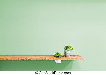 木製である, 棚, 壁, 緑, 型, plant.