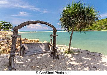 木製である, 浜, 振動, ベンチ
