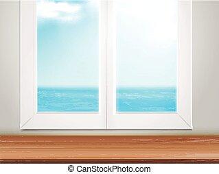 木製である, 海洋, 窓, 場所, テーブル, ぼんやりさせられた