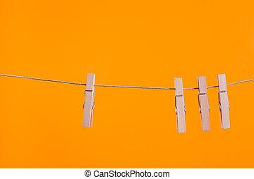 木製である, 物干し綱, 掛かること, ロープ, clothespins