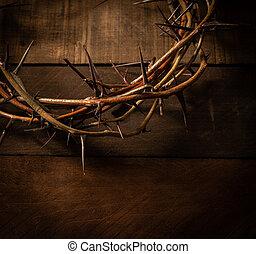 木製である, 王冠, バックグラウンド。, 主題, とげ, イースター