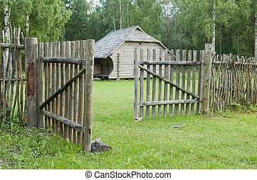 木製である, 田舎, 古い, フェンス