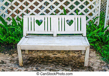 木製である, 白, 公園のベンチ