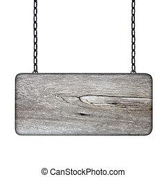 木製である, 白, 背景, 鎖, 印