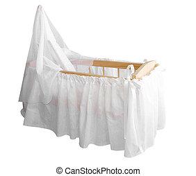 木製である, 白, bassinet, ドレープ