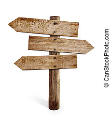 木製である, 矢の 印, ポスト, ∥あるいは∥, 道, 道標, 隔離された