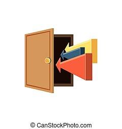 木製である, 矢, 開いているドア